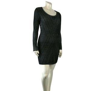 Victoria Secret Bodycon Black Knit Cotton Dress M
